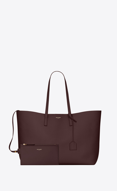 SAINT LAURENT Shopping Saint Laurent E/W D shopping saint laurent tote bag in bordeaux leather b_V4
