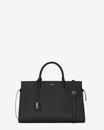 SAINT LAURENT RIVE GAUCHE D Medium Cabas RIVE GAUCHE bag in Black Grained Leather f