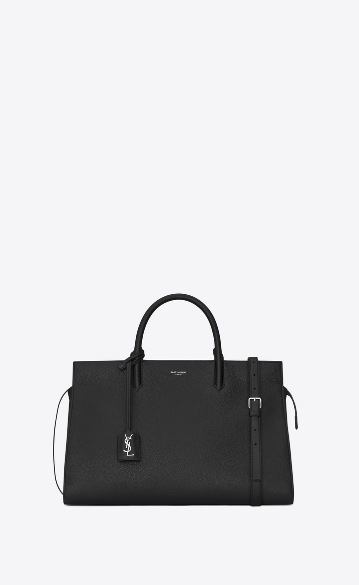 Saint Laurent Medium Cabas RIVE GAUCHE Bag In Black Grained ... 996956197331