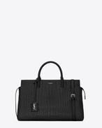 SAINT LAURENT RIVE GAUCHE D Medium CABAS RIVE GAUCHE   bag in Black Crocodile Embossed Leather f