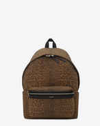 CLASSIC HUNTING BACKPACK IN Tan and BLACK Leopard Printed Nylon and Black Leather