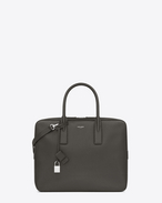 SAINT LAURENT Business U CLASSIC SMALL MUSEUM BRIEFCASE IN Dark Anthracite GRAIN DE POUDRE TEXTURED LEATHER f