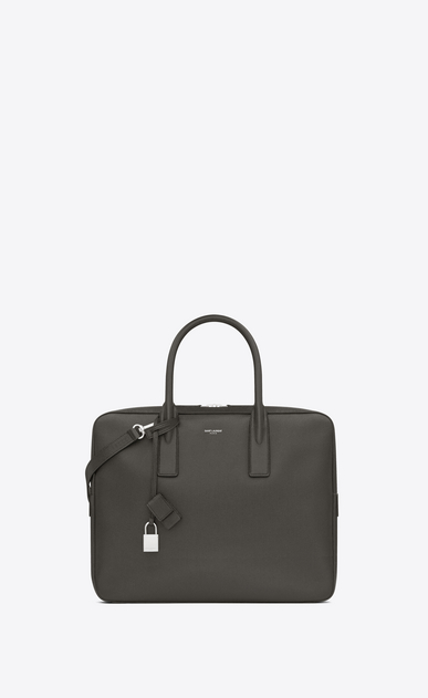 SAINT LAURENT ビジネス U CLASSIC SMALL MUSEUM BRIEFCASE IN Dark Anthracite GRAIN DE POUDRE TEXTURED LEATHER a_V4
