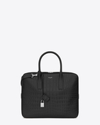 SAINT LAURENT Business U CLASSIC SMALL MUSEUM BRIEFCASE IN Black Crocodile Embossed LEATHER f