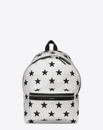 classic city california backpack in metallic silver and black leather