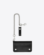 SAINT LAURENT rider slg U RIDER CHAIN WALLET IN BLACK Lizard Embossed LEATHER and black leather f