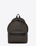 classic toile monogram saint laurent city backpack in black printed canvas and black leather
