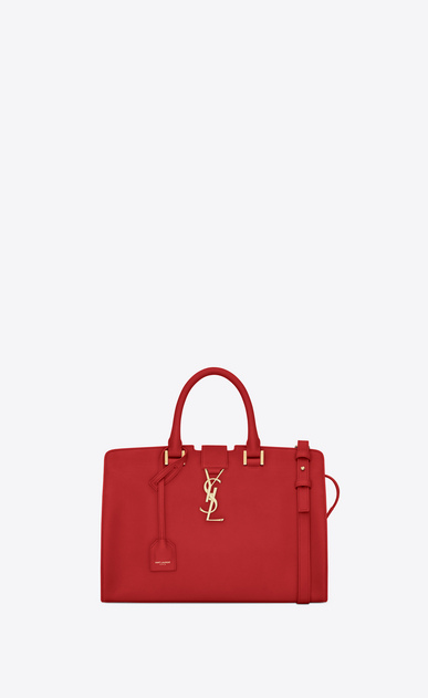 SAINT LAURENT Monogram Cabas D small monogram cabas bag in red leather a_V4