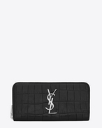 MONOGRAM SAINT LAURENT Zip Around Wallet in Black Crocodile Embossed Leather