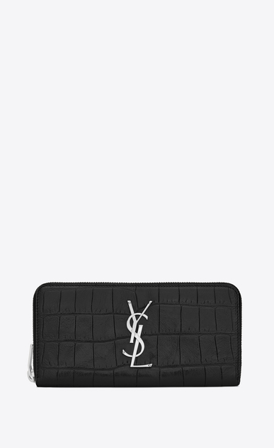 SAINT LAURENT Monogram D monogram zip around wallet in black crocodile embossed leather a_V4
