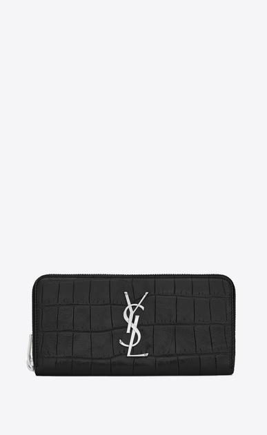SAINT LAURENT Monogram D monogram zip around wallet in black crocodile embossed leather v4