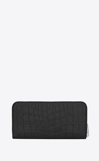 SAINT LAURENT Monogram D monogram zip around wallet in black crocodile embossed leather b_V4