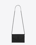SAINT LAURENT Envelope Chain Wallet D MONOGRAM SAINT LAURENT Envelope Chain Wallet in Black Grain de Poudre Textured Matelassé Leather f