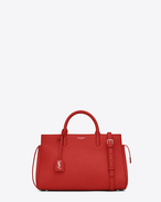 SAINT LAURENT RIVE GAUCHE D small cabas rive gauche bag in red grained leather f