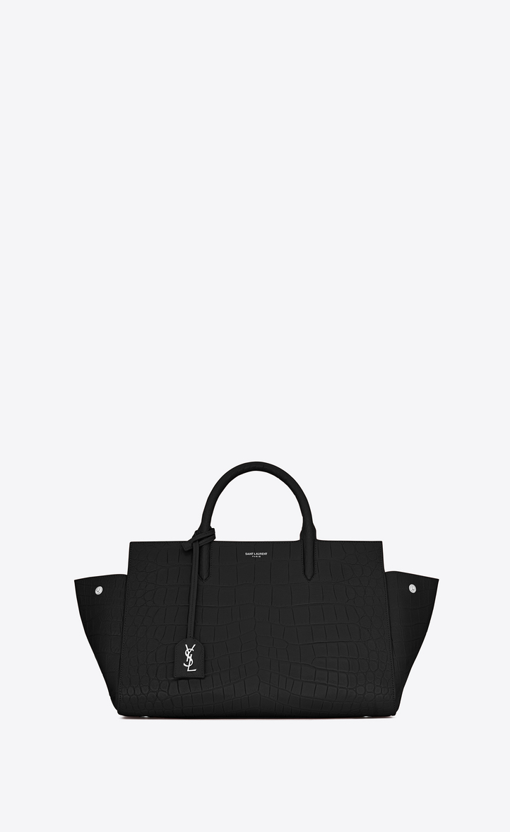 Zoom Small Cabas Rive Gauche Bag In Black Crocodile Embossed Leather Rear View