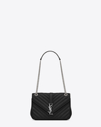 Classic Medium MONOGRAM SAINT LAURENT Chain Bag in Black Matelassé Leather