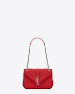 Classic Medium MONOGRAM SAINT LAURENT Chain Bag in Red Matelassé Leather