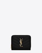 monogram saint laurent compact zip around wallet in black grain de poudre textured matelassé leather