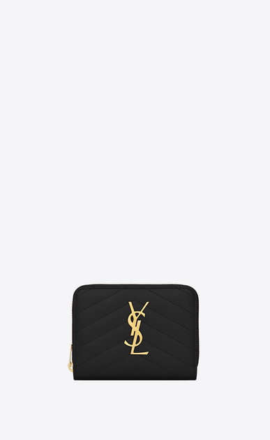 SAINT LAURENT Monogram Matelassé D monogram compact zip around wallet in black grain de poudre textured matelassé leather a_V4