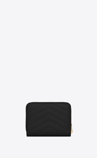 SAINT LAURENT Monogram Matelassé Woman compact zip around wallet in black textured matelassé leather b_V4