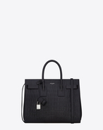 SAINT LAURENT Sac De Jour Small D Classic Small Sac De Jour bag in Black Crocodile Embossed Leather f