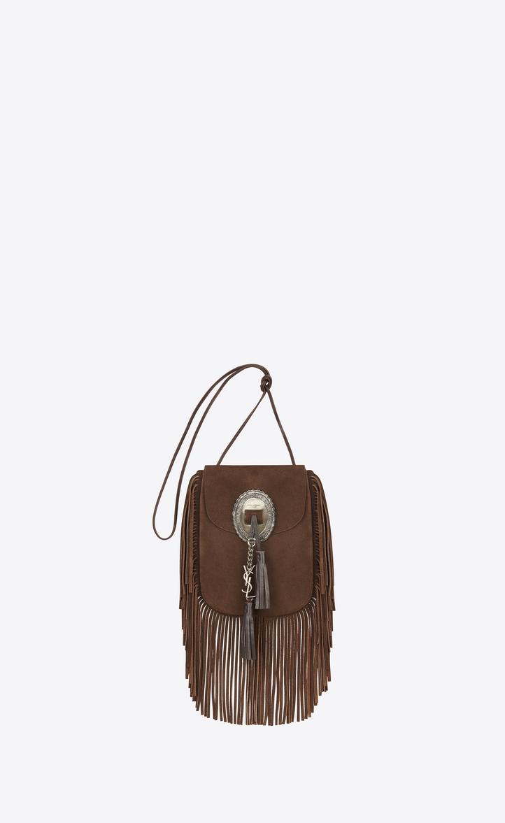 27829af25fc4 Saint Laurent ANITA Fringed Flat Bag In Chestnut Leather