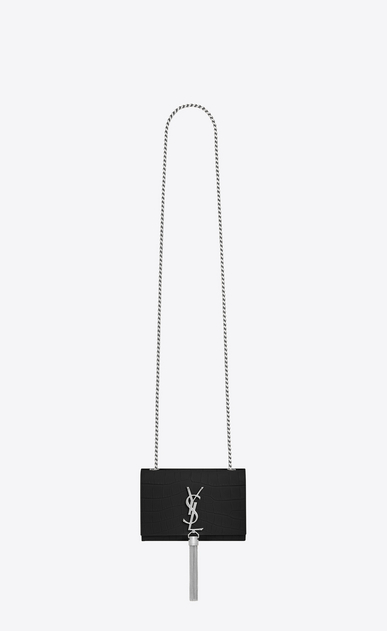 SAINT LAURENT Mini bags Kate D classic small monogram tassel satchel nera in pelle stampata coccodrillo a_V4