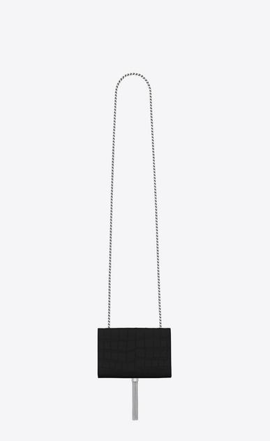 SAINT LAURENT MONOGRAM KATE WITH TASSEL D petit satchel à pompon kate en cuir noir embossé crocodile b_V4