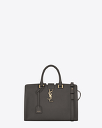 SAINT LAURENT Monogram Cabas D small monogram cabas bag in dark anthracite leather f