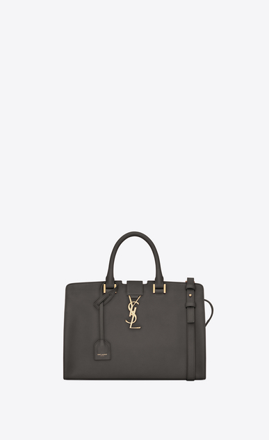SAINT LAURENT Monogram Cabas Woman small cabas bag in dark anthracite leather a_V4