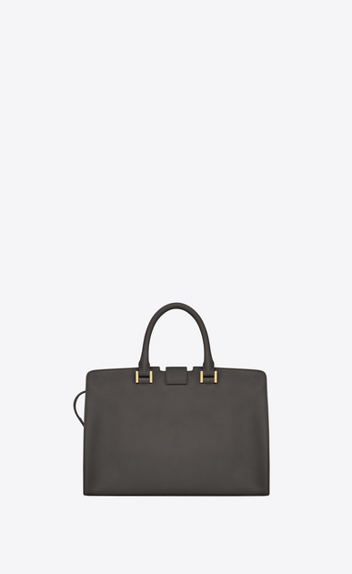 SAINT LAURENT Monogram Cabas Woman small cabas bag in dark anthracite leather b_V4