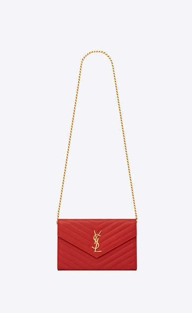 SAINT LAURENT Matelassé chain wallet D monogram chain wallet in lipstick red grain de poudre textured matelassé leather a_V4