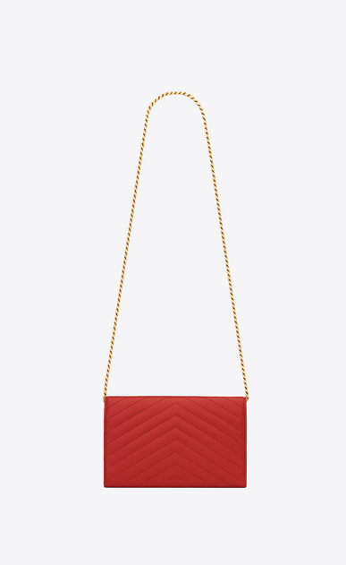 SAINT LAURENT Matelassé chain wallet D monogram chain wallet in lipstick red grain de poudre textured matelassé leather b_V4