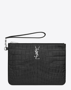 SAINT LAURENT Monogram Matelassé D MONOGRAM SAINT LAURENT POUCH IN Black Crocodile Embossed LEATHER f