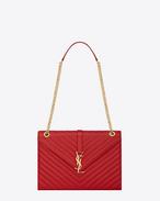 SAINT LAURENT MONOGRAMME SATCHEL D classic large monogram saint laurent satchel in lipstick red grain de poudre textured matelassé leather f