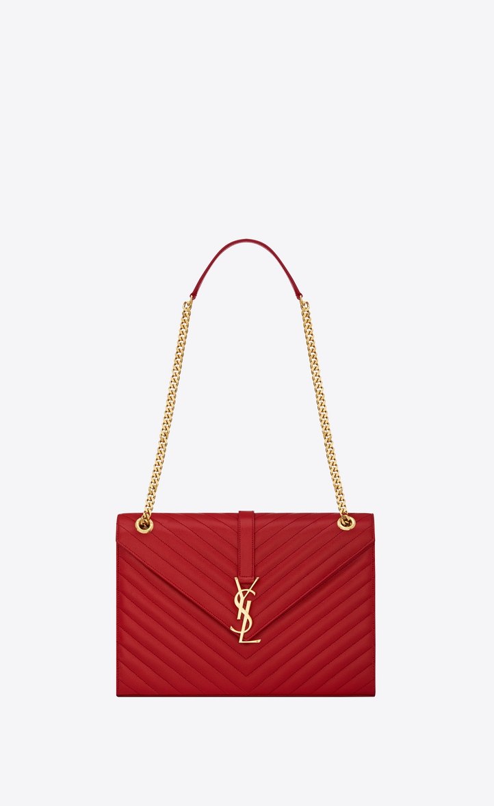 Large Envelope Chain Bag In Lipstick Red Grain De Poudre Textured Matelassé Leather Front View