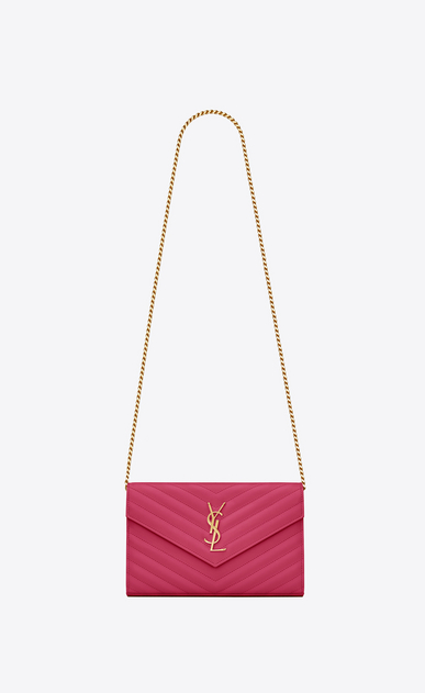 SAINT LAURENT Matelassé chain wallet D monogram chain wallet in lipstick fuchsia grain de poudre textured matelassé leather a_V4