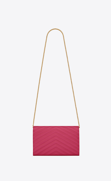 SAINT LAURENT Matelassé chain wallet D monogram chain wallet in lipstick fuchsia grain de poudre textured matelassé leather b_V4