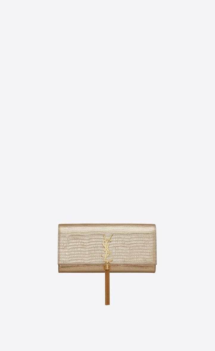 d6340ebcfca1 classic kate tassel clutch in pale gold lizard embossed metallic leather