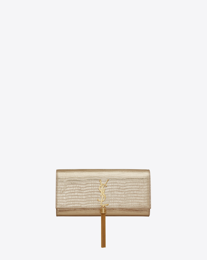 saint laurent classic kate tassel clutch in pale gold lizard embossed metallic leather