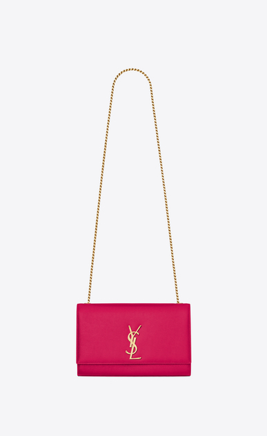 SAINT LAURENT MONOGRAM KATE D medium kate chain bag in lipstick fuchsia grain de poudre textured leather a_V4
