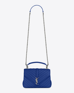 Classic Medium MONOGRAM SAINT LAURENT COLLÈGE Bag blu ultramarine in pelle matelassé
