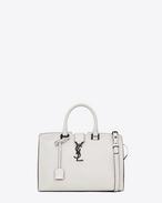 SAINT LAURENT Monogram Cabas D Small MONOGRAM SAINT LAURENT CABAS Bag nera e bianco porcellana in pelle f