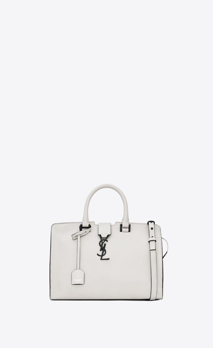 dede00b9f040 Saint Laurent Small Monogram Cabas Bag In Dove White And Black ...