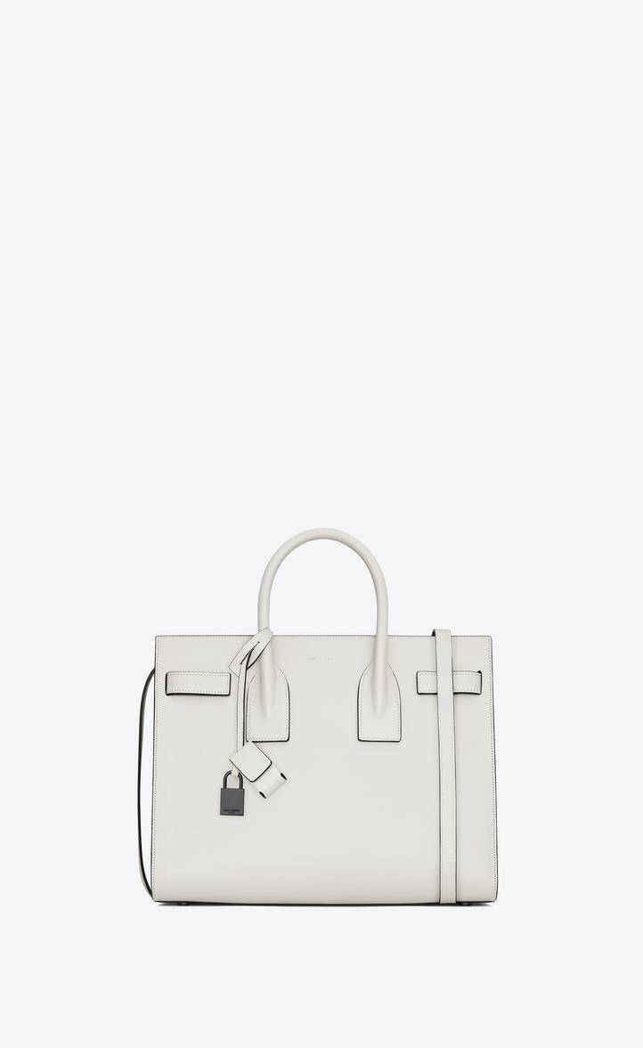 3f9fddbeaa50d Saint Laurent Classic Small SAC DE JOUR Bag In Dove White And ...