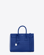 SAINT LAURENT Sac De Jour Small D Classic Small SAC DE JOUR Bag in Royal Blue Crocodile Embossed Leather f