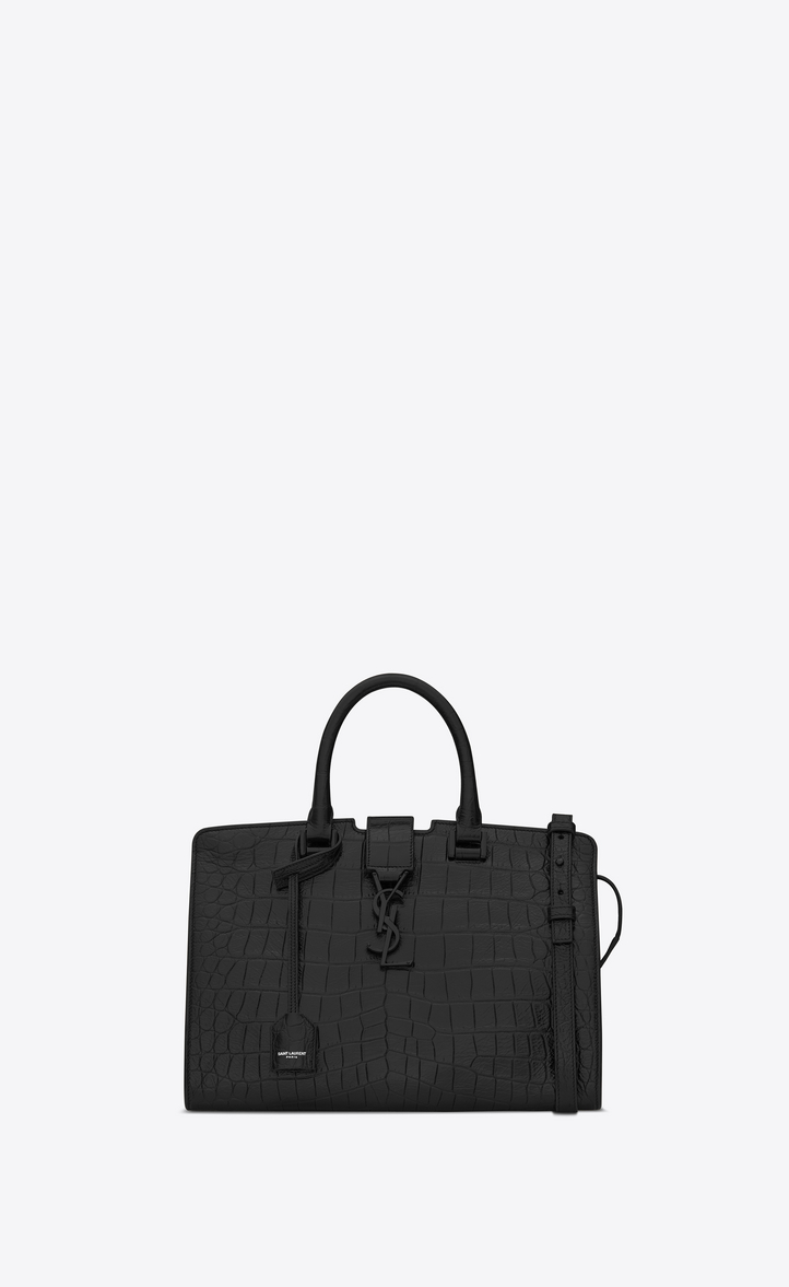 Small Monogram Cabas Bag In Black Crocodile Embossed Leather Front View