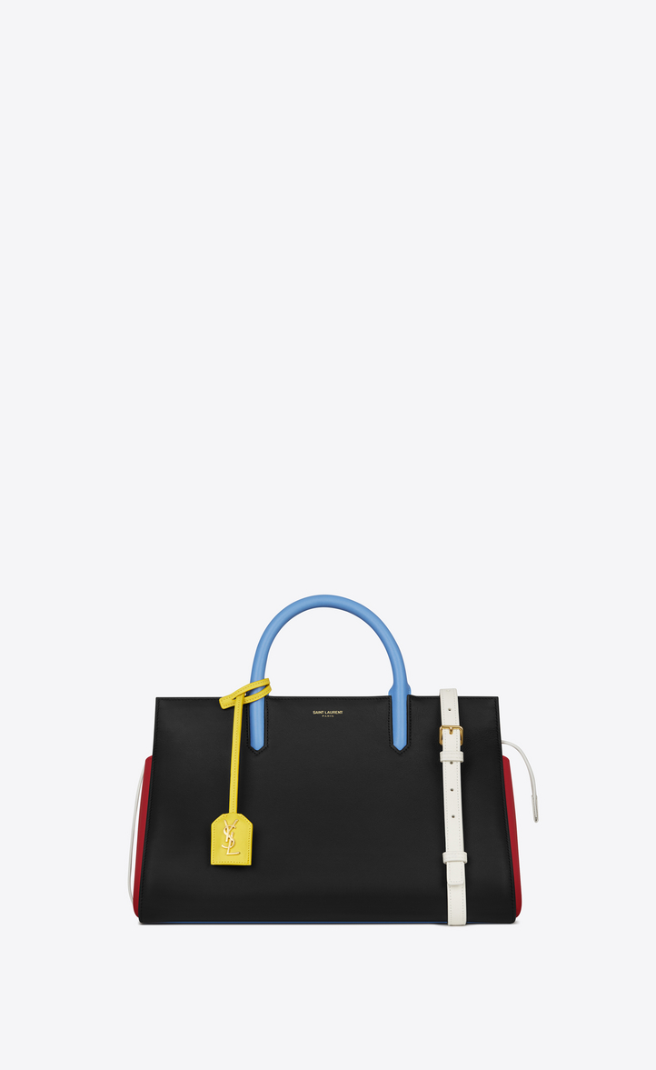 Small Cabas Rive Gauche Bag In Black Red Dove White Light Blue And