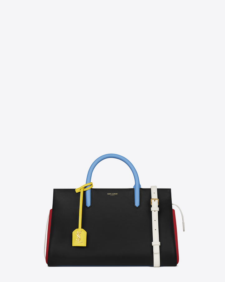 Saint Laurent Small CABAS RIVE GAUCHE Bag In Black, Red, Dove ...