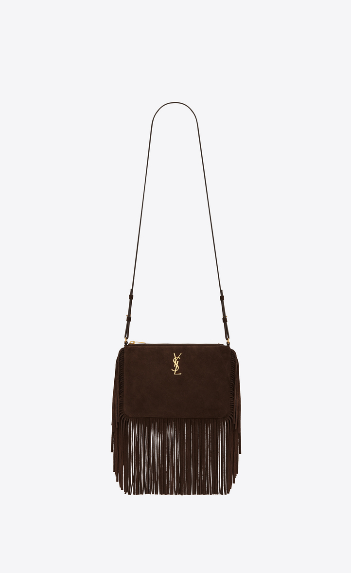 Small Monogram Saint Lau Fringed Crossbody Bag In Brown Suede Front View